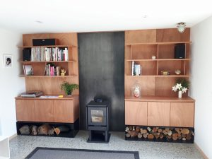 Gaboon plywood designer wall unit cromwell joiner
