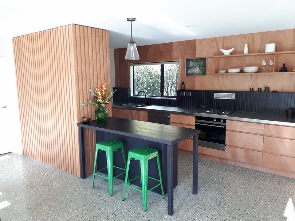 Gaboon plywood designer kitchen cromwell joiner