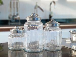 Empty mason jars on kitchen counter